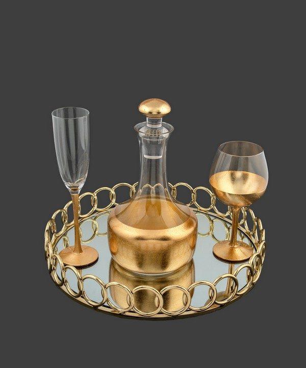Καράφα ποτήρι με φύλλα χρυσού.