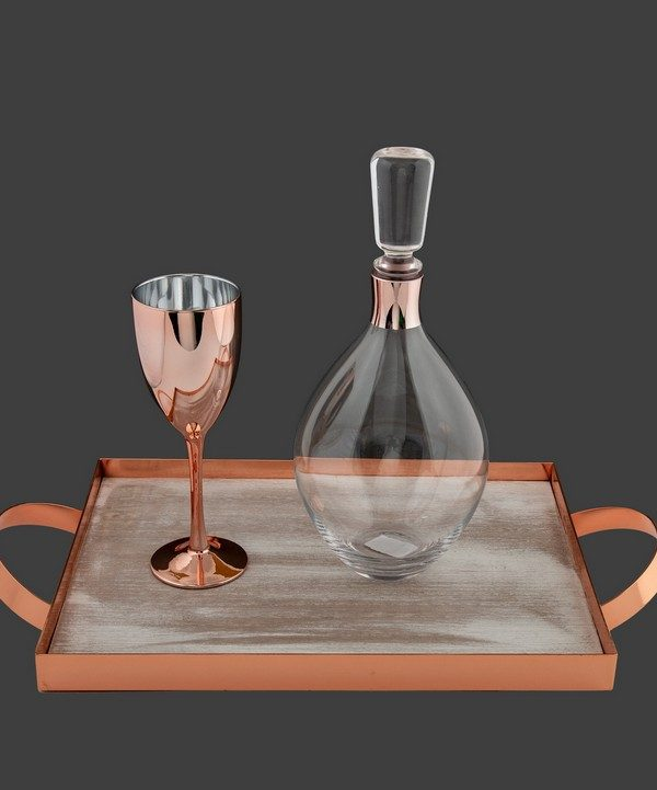 Σετ γάμου καράφα με ποτήρι σε ροζ χρυσό