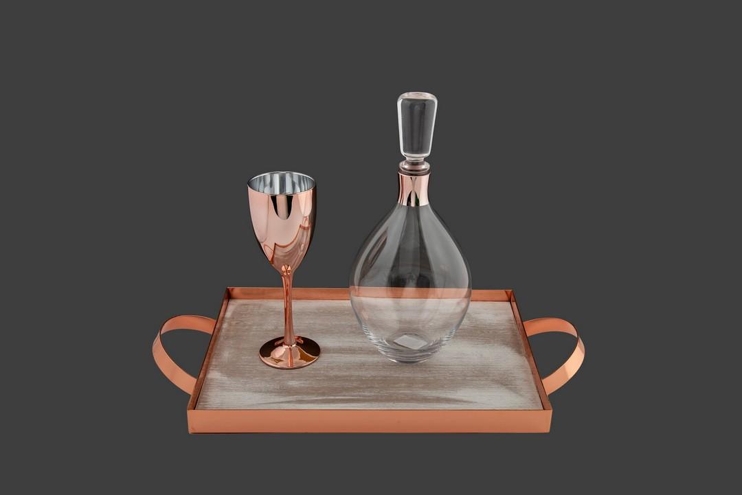 Σετ γάμου με καράφα ποτήρι κρυστάλλινα , σε διάφανο χρώμα, με ροζ gold