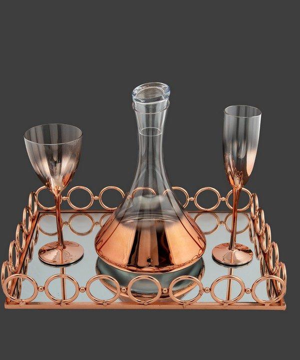 Καράφα ποτήρι με roz-gold χρώμα