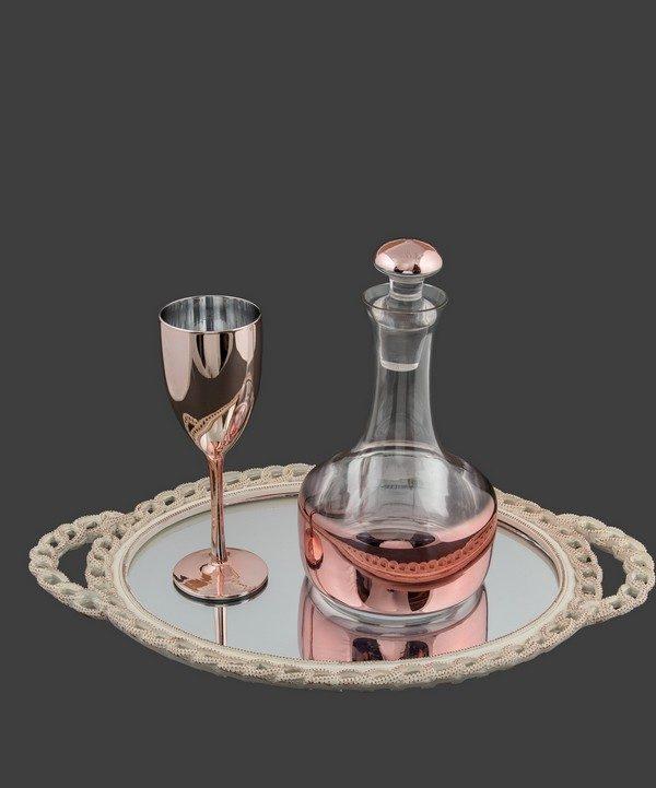 Καράφα ποτήρι σε μεταλλική roz-gold απόχρωση