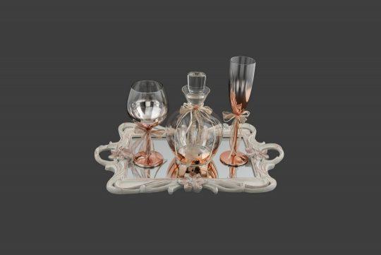 Καράφα-ποτήρι σε μεταλλική roz-gold απόχρωση