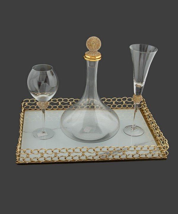 Σετ γάμου καράφα και ποτήρι με strass