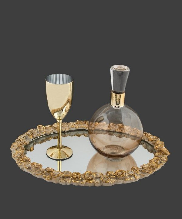 Σετ καράφα ποτήρι σε χρυσό χρώμα