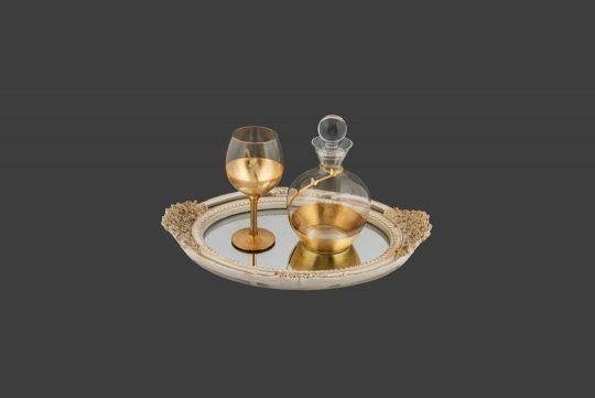 Καράφα και ποτήρι με φύλλα χρυσού