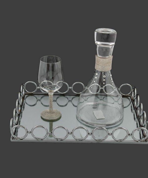 Σετ καράφα ποτήρι με ασήμι strass.