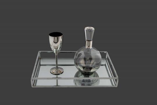 Σετ καράφα ποτήρι σε ασημί αποχρώσεις