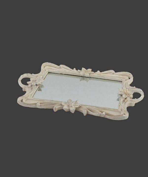 Δίσκος ρομαντικός, με καθρέφτη σε απόχρωση ιβουάρ-ασημί.