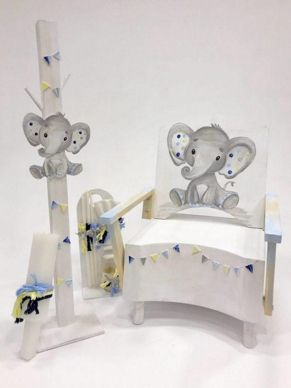 Χειροποίητο σετ βάπτισης ελεφαντακι