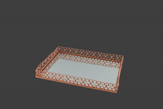 Δίσκος παραλληλόγραμμος, σε χρώμα roz-gold .