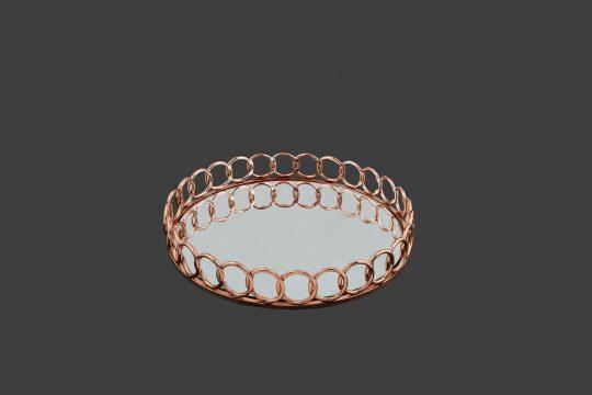 Δίσκος στρόγγυλος, σε χρώμα roz-gold .